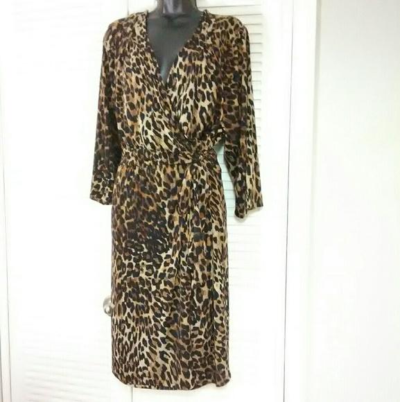 946aa2852e6 Lane Bryant plus 26 28 leopard true wrap dress
